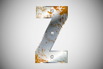Metal letters of the alphabet Z