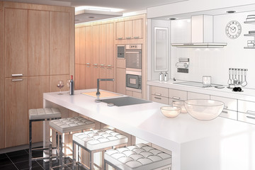 Modern Kitchen Project (drawing)