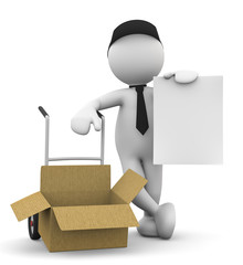 omino bianco con scatola aperta e foglio
