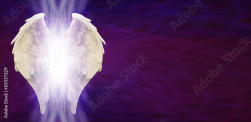 Angel Wings Banner Head on Purple Matrix