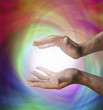 Healing Hands on Rainbow light background