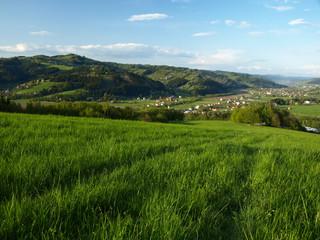 Green field above small village