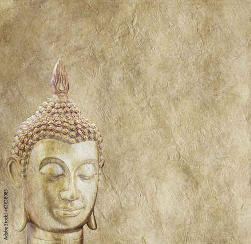 Budhha on Parchment Background Poster