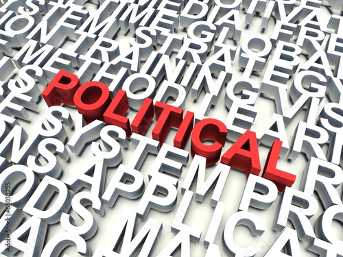 Word Political in red. Keywords concept.