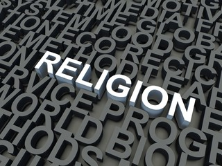 Word Religion in white. Keyword concept.