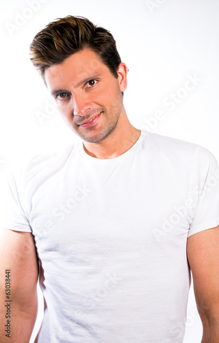 Man in Plain White T-Shirt