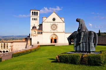 Front view of the famous Basilica of St Francis, Assisi, Italy