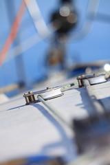 Yachting. Sailboat and ropes detail
