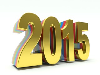Golden new year 2015. 3d render