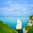 Etretat Aval cliff rock landmark and blue ocean . Normandy, Fran