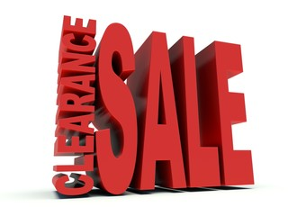 Advertising words Clearance Sale in red. 3d render.