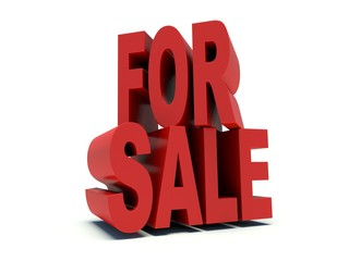 Advertising words 'For sale' in red. 3d render