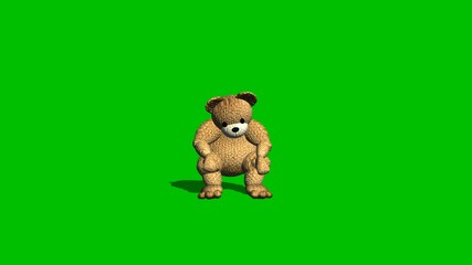 cartoon teddy bear is sitting and tells -  different views
