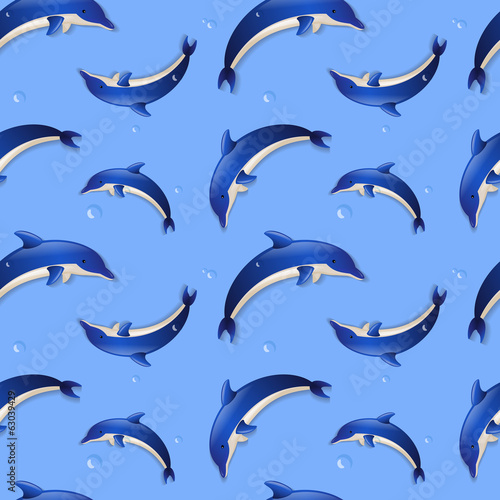 Seamless background with dolphins. Vector illustration.