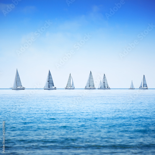 Sailing boat yacht regatta race on sea or ocean water - 63039486