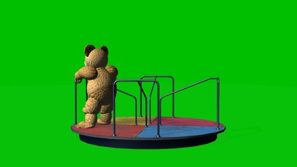cartoon teddy bear moves carousel - green screen
