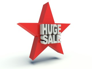 Advertising words Huge Sale on star. 3d render