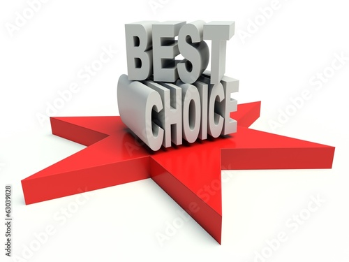 Advertising words Best Choice on star. 3d render