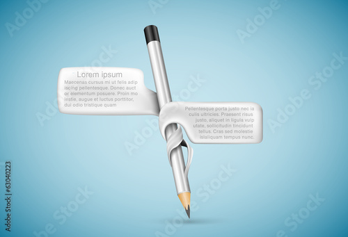 Pencil with bubbles for text