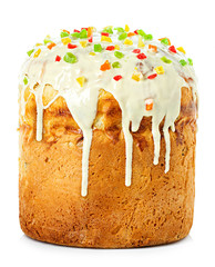 Easter cake with glace icing on white background