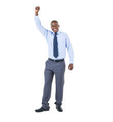 Cheerful African Businessman Celebrating