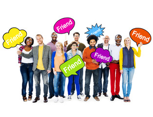 Multi-Ethnic People Holding Speech Bubbles With Friend