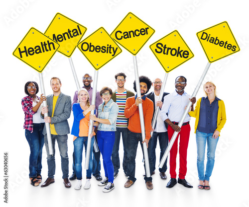 Multi-Ethnic People Holding Health Awareness Signs