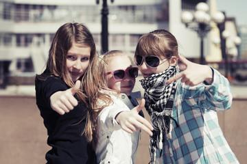 Teenage girls on the city street