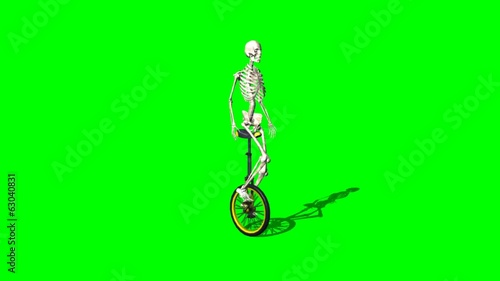 skeleton moves with unicycle - green screen