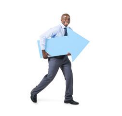 Cheerful Businessman Holding Arrow Sign