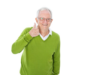 Cheerful Mature Man Giving a Thumbs Up