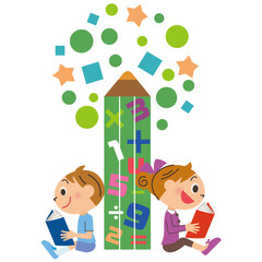 塾や学校で勉強する子供
