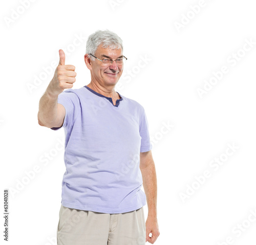 Cheerful Mature Man Giving Thumbs Up