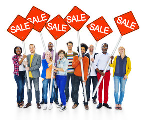 Multiethnic Cheerful People Sale Signs