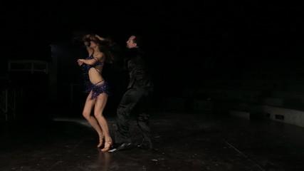 Professional dancers dancing  in the studio