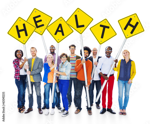 Happy Multi-Ethnic People Holding Signs With Health