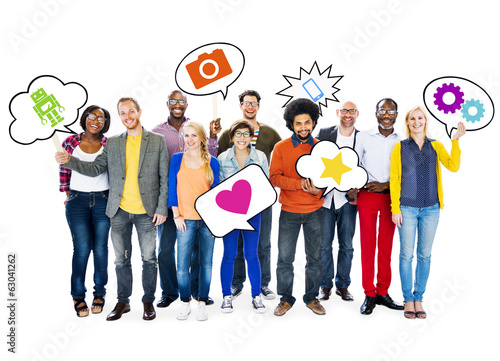 Group Of Happy Multi-Ethnic People Holding Speech Bubbles