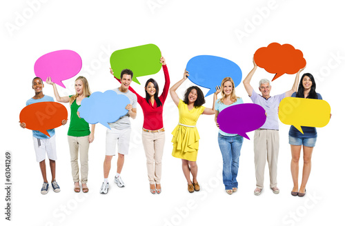 Multi-Ethnic People Holding Colorful Speech Bubbles