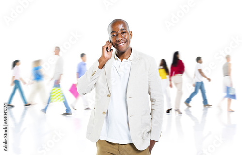 Smart Casual Man on the Phone with Busy Background