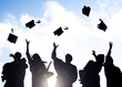 Group Graduating Students Celebrating And Throwing Cap