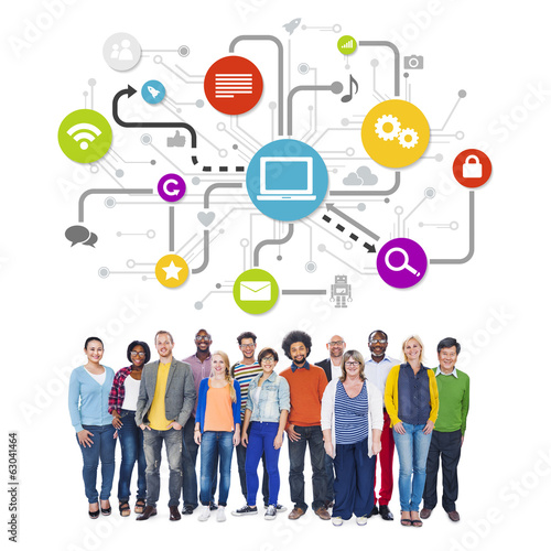 Group Of Multi-Ethnic People with Social Media Icons