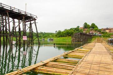 Longest  wooden bridge it broken in Thailand