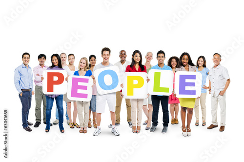 "Colorful Diverse People Holding the Word ""PEOPLE"""