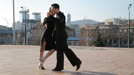 Professional dancers dancing  in the street of Sarajevo