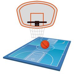 Basketball Field  Isolated On White Background