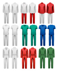Set of overalls with worker. Design template. Vector illustratio
