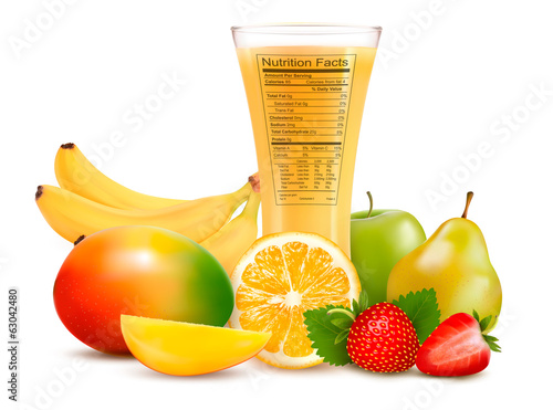 Fresh fruit and a glass of juice with a nutrition facts label. V