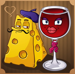 French Wine and Cheese Cartoon Characters
