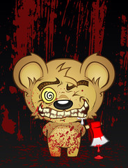 Psychotic Axe Murder Teddy Bear Cartoon