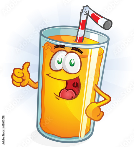 Orange Juice Cartoon Character Thumbs Up